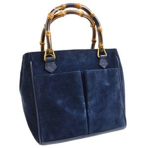 GUCCI Bamboo Line Hand Tote Bag Navy Suede Leather